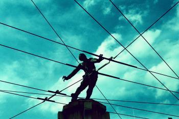Man in net (analogic photo,cross processing)