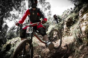 Just a decisive moment (before a hard crash) during a DHI race in Portugal