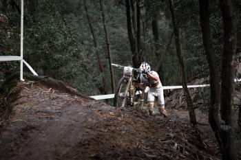 Hard uphill during a XCO race in Portugal
