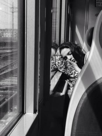 PEOPLE ON TRAINS AND BUSSES