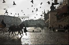 Main market square in winter, Krakow, Poland