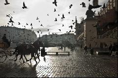Main market square in winter, Krakow, Poland